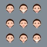 Uppsättning av manliga emojitecken Arkivbild