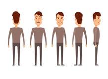 Uppsättning av manliga tecken Man pojke, person, användare Modern vektorillustrationlägenhet och tecknad filmstil Olik positioner vektor illustrationer