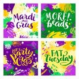 Uppsättning av Mardi Gras bokstäverkort Royaltyfri Fotografi