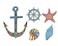 Uppsättning av marin- beståndsdelar Vektor Illustrationer