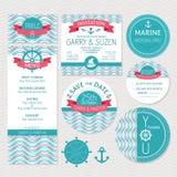 Uppsättning av marin- bröllopkort Arkivfoton