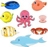 Uppsättning av marin- djur Royaltyfri Bild