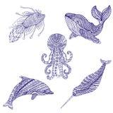 Uppsättning av marin- färgläggning för klotterdjurprydnad Royaltyfria Bilder