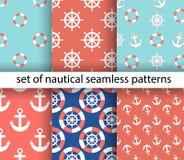 Uppsättning av marin- och nautiska bakgrunder abstrakt tema för abstraktionbakgrundshav samlingen mönsan seamless också vektor fö vektor illustrationer