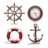 Uppsättning av marin- symboler Royaltyfri Bild