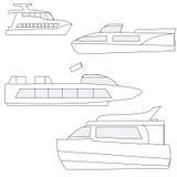 Uppsättning av marin- yachter för symboler Arkivfoton