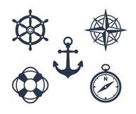 Uppsättning av maritima eller nautiska symboler för flotta, stock illustrationer