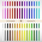 Uppsättning av 32 markörer av olika färger stock illustrationer