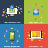 Uppsättning av marknadsföringsdesignbegrepp Arkivfoto