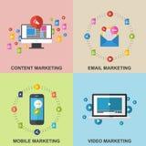 Uppsättning av marknadsföringsdesignbegrepp Royaltyfri Bild