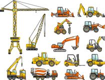 Uppsättning av maskiner för tung konstruktion vektor Arkivbilder