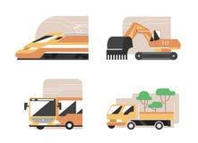 Uppsättning av maskiner Snabbt drev, grävskopa, offentlig buss som arbeta i trädgården uppsamlingen Plana stilvektorsymboler, kom stock illustrationer