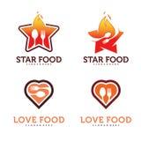 Uppsättning av mat med stjärnan Logo Vector vektor illustrationer