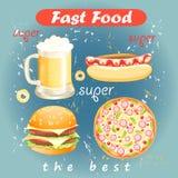 Uppsättning av mat- och drinksnabbmat stock illustrationer
