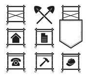 Uppsättning av material till byggnadsställningsymboler för webbplatsen, EPS10 Fotografering för Bildbyråer