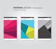 Uppsättning av materiell designbakgrund för ui Arkivfoto