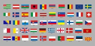 Uppsättning av med flaggor för europeiska länder vektor illustrationer