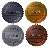 Uppsättning av 4 medaljer Paltinum, guld, silver, brons stock illustrationer