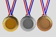 Uppsättning av medaljer som isoleras på vit royaltyfri illustrationer