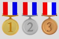 Uppsättning av medaljer som isoleras på vit vektor illustrationer