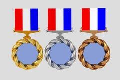 Uppsättning av medaljer som isoleras på vit stock illustrationer