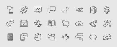Uppsättning av meddelandevektorlinjen symboler Innehåller sådana symboler som konversation, SMS, hjärta, förälskelsepratstunder,  vektor illustrationer
