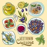 Uppsättning av medelhavs- mat stock illustrationer