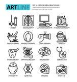 Uppsättning av medicin- och sjukvårdsymboler Arkivfoton