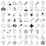 Uppsättning av 64 medicinska symboler, tunn linje stil, vektorillustration Royaltyfri Foto