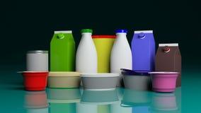 Uppsättning av mejerifrukostprodukter på gräsplanblåtttabellen illustration 3d stock illustrationer