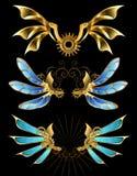 Uppsättning av mekaniska vingar stock illustrationer