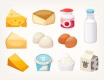 Uppsättning av mest gemensamma mejerilivsmedelsprodukter Några sorter av ost, mjölkar packar och yoghurter royaltyfri illustrationer