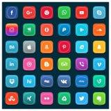 Uppsättning av mest populära sociala massmediasymboler: Pinterest Twitter, YouT royaltyfri illustrationer