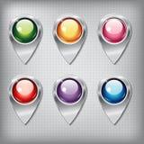 Uppsättning av metalliska översiktspekare med kulöra skinande knappar Fotografering för Bildbyråer
