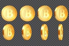 Uppsättning av metalliska bitcoins 3d stock illustrationer