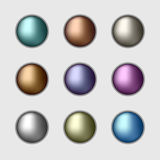 Uppsättning av metalliska knappar för färg Royaltyfria Foton
