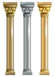Uppsättning av metalliska kolonner royaltyfri illustrationer