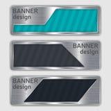 Uppsättning av metalliska texturerade baner rengöringsdukbaner med realistisk ståltextur i abstrakta former Arkivbild