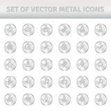 Uppsättning av metallsymboler på silvercirklar Arkivfoto