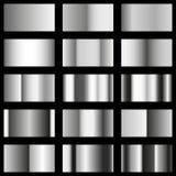 Uppsättning av metalltexturlutningar mall, silverfärg Arkivbilder