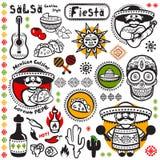 Uppsättning av mexicanska vektorsymboler Royaltyfri Foto
