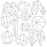 Uppsättning av mineraliska kristaller vektor illustrationer