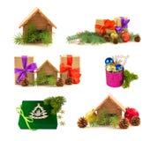Uppsättning av miniatyrfastighethuset, gåvor, glansiga bollar, fres Royaltyfria Foton