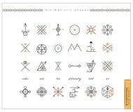 Uppsättning av minsta geometriska monokromformer Arkivbilder