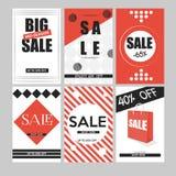 Uppsättning av mobila baner för online-shopping Massmedia för för vektorillustrationwebsite och samkväm, affischer, emailinformat royaltyfri illustrationer