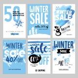 Uppsättning av mobila försäljningsbaner för vinter royaltyfri illustrationer