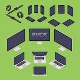 Uppsättning av mobiltelefonen, smart klocka, minnestavla, bärbar dator, dator från för symbolsuppsättning för fyra sidor illustra Arkivfoton