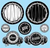 Uppsättning av modeller för monochromatic emblem med trummor Royaltyfri Fotografi