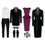 Uppsättning av moderiktig kläder Dräkt av mannen och kvinnakläder och tillbehör Arkivbild