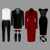 Uppsättning av moderiktig kläder Dräkt av mannen och kvinnakläder och tillbehör Arkivfoto